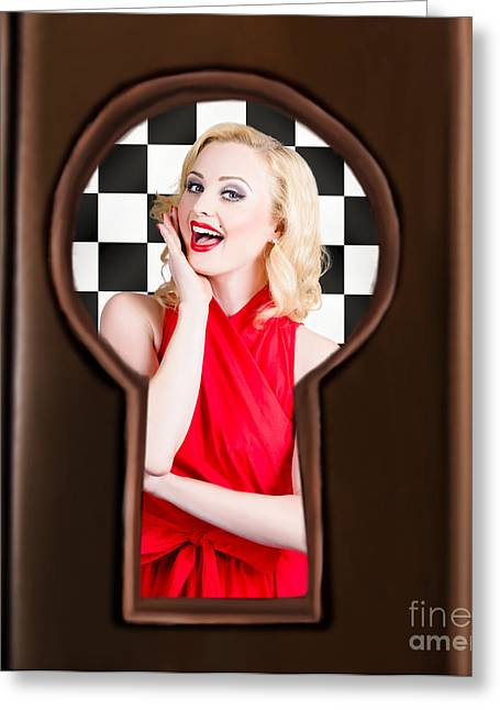 Peepholes Greeting Cards - Stylish surprised women portrait. Pinup secret Greeting Card by Ryan Jorgensen