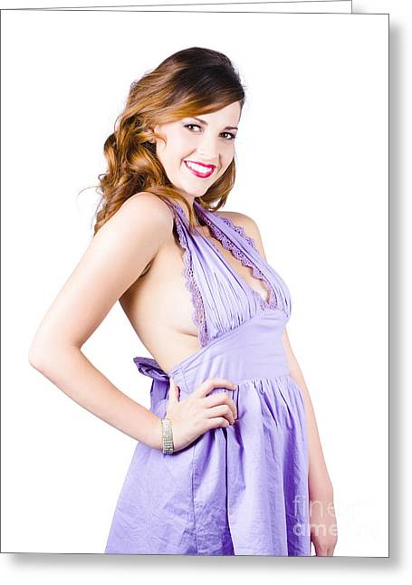 Youthful Photographs Greeting Cards - Stylish woman in purple dress Greeting Card by Ryan Jorgensen