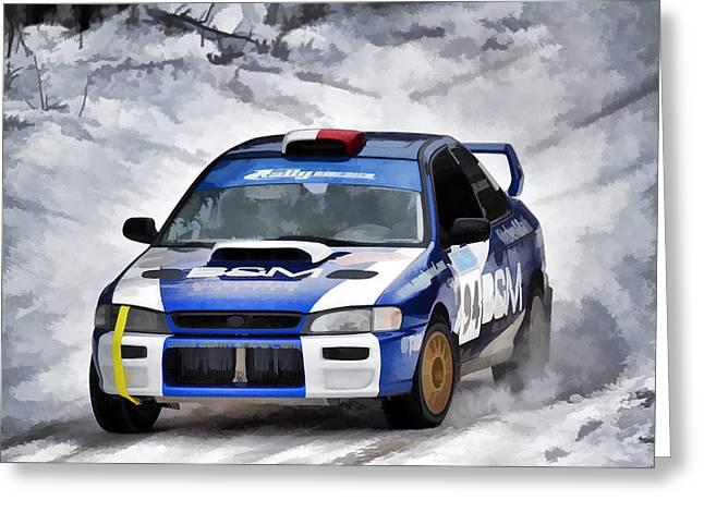 Rally Greeting Cards - Subaru Car 94 Greeting Card by Rick Jackson