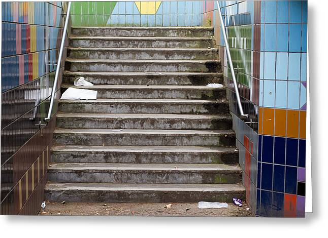 Urbam Greeting Cards - Subway Stairs Greeting Card by Fizzy Image