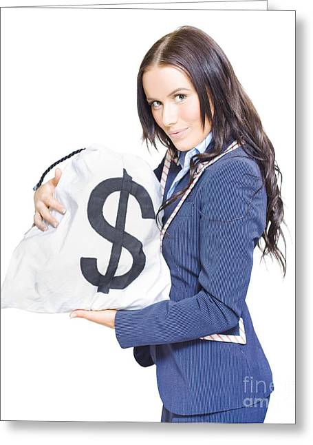 Young Money Greeting Cards - Successful Business Woman Holding Bags Of Money Greeting Card by Ryan Jorgensen
