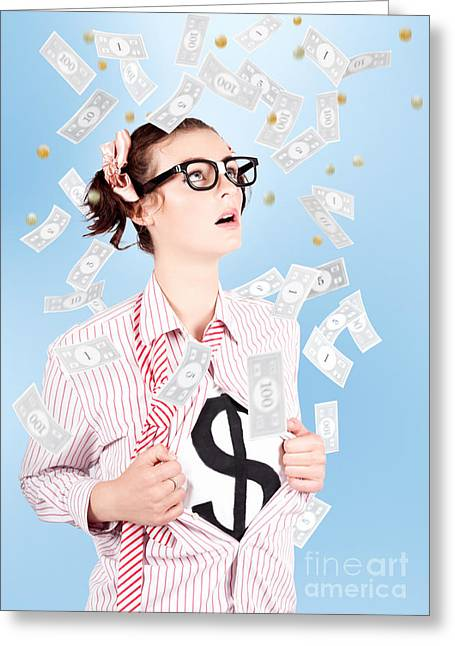 Super Girl Photographs Greeting Cards - Successful Female Business Superhero Winning Money Greeting Card by Ryan Jorgensen