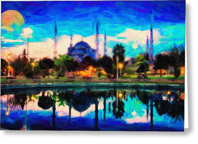 Summer Scene Drawings Greeting Cards - Sultan Ahmed The Blue Mosque Greeting Card by Celestial Images