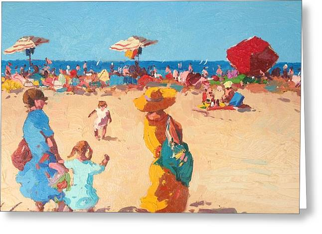 Italian Sunset Greeting Cards - Summer beach Greeting Card by Agostino Veroni