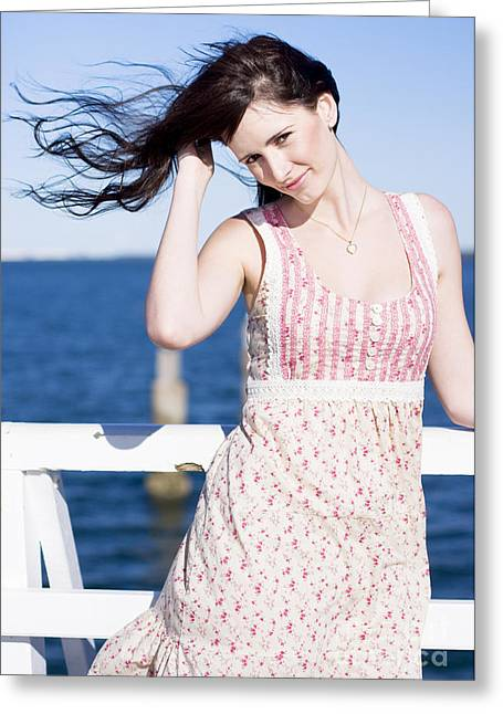 Wellbeing Greeting Cards - Summer Breeze Woman Greeting Card by Ryan Jorgensen
