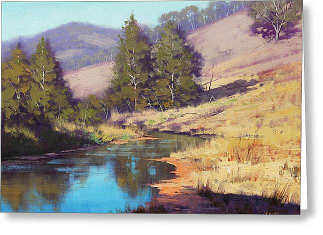 Beautiful Creek Paintings Greeting Cards - Summer River  Greeting Card by Graham Gercken