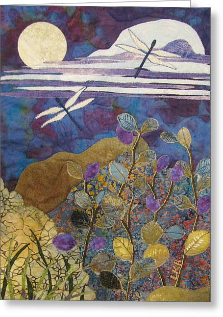 Fabric Collage Tapestries Textiles Greeting Cards - Summer Twilight Greeting Card by Lynda K Boardman