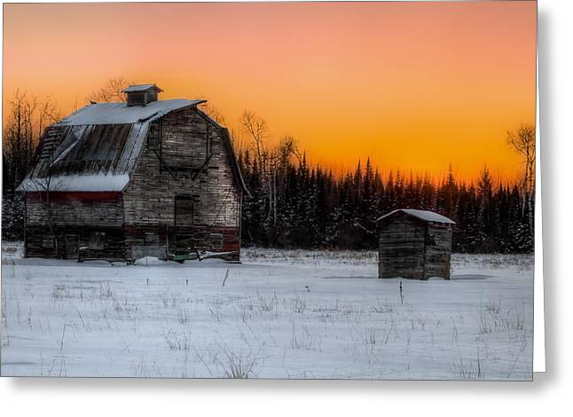 Recently Sold -  - Old Barns Greeting Cards - Sun Down Greeting Card by Terry Crayne