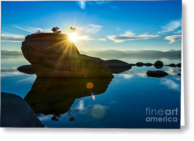 Burst Greeting Cards - Sun Star Mirror Greeting Card by Jamie Pham