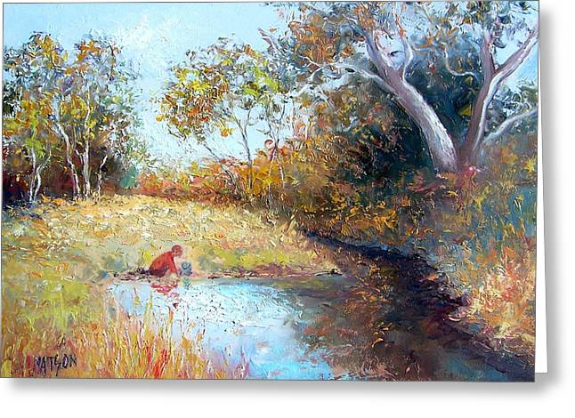 Reflection Of Trees In Water Greeting Cards - Sunday by the Creek Greeting Card by Jan Matson