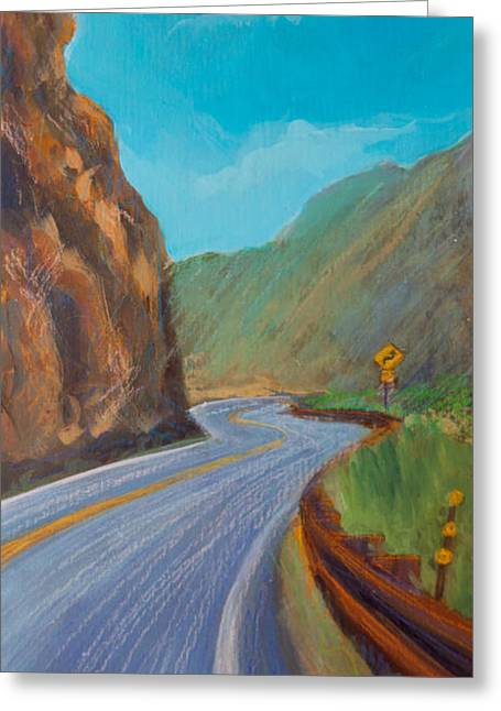Highway Paintings Greeting Cards - Sunday Drive Greeting Card by Athena  Mantle