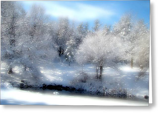Snow-covered Landscape Digital Greeting Cards - Sunday Morning Greeting Card by Gothicolors Donna Snyder
