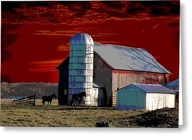 Sundown On The Farm Greeting Card by Jimi Bush