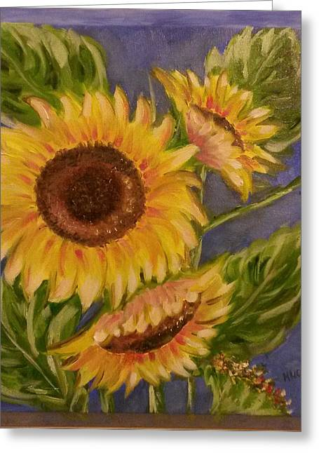 Lounge Paintings Greeting Cards - Sunflower Burst 1 Greeting Card by Mary McLoughlin