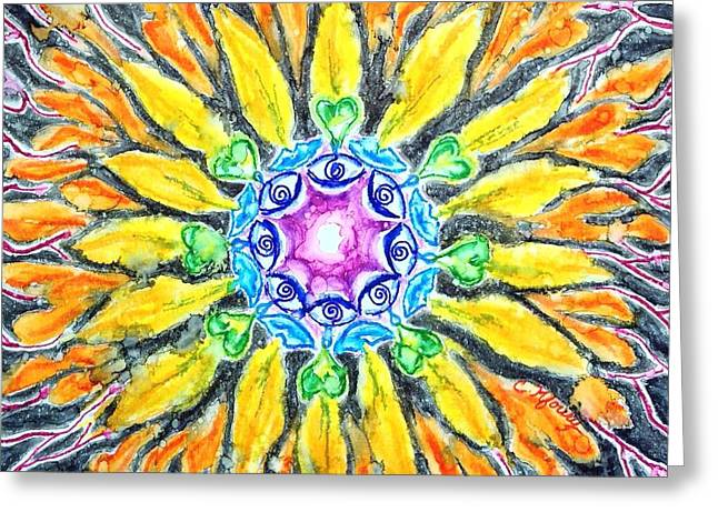 Sunflower Chakra Doodle Greeting Card by Christine Kfoury