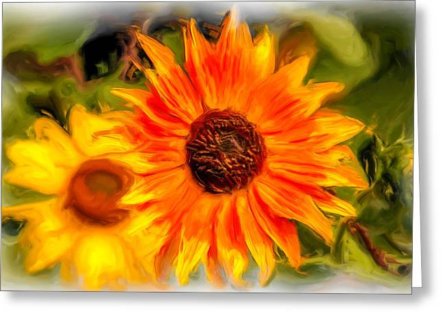 Orange Tapestries - Textiles Greeting Cards - Sunflower Greeting Card by Dennis Bucklin