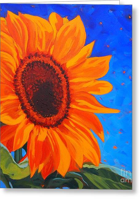 Mango Paintings Greeting Cards - Sunflower Glow Greeting Card by Janet McDonald