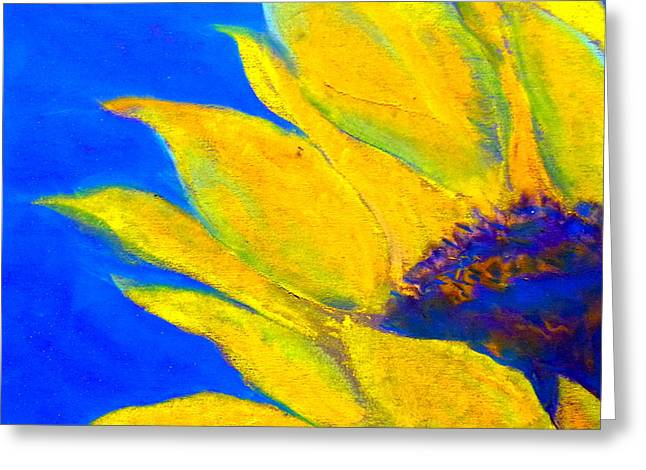Whimsical. Greeting Cards - Sunflower in Blue Greeting Card by Sue Jacobi