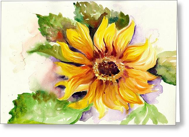 Installation Art Greeting Cards - Sunflower Watercolor Greeting Card by Tiberiu Soos