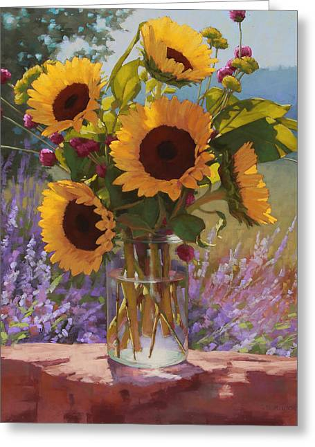 Mason Jars Greeting Cards - Sunflowers on the Rock Wall Greeting Card by Sarah Blumenschein