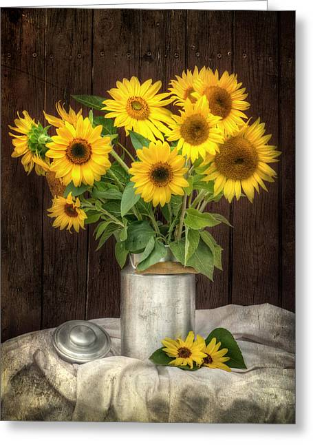 Yellow Sunflower Pyrography Greeting Cards - Sunflowers Greeting Card by Steffen Gierok