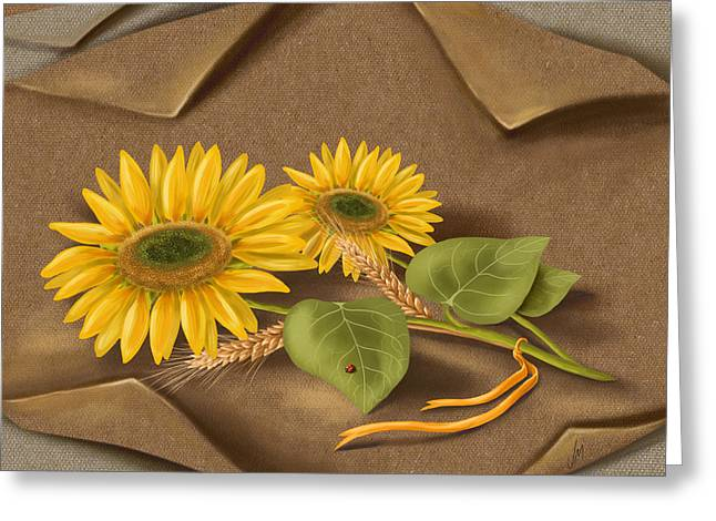 Close Up Paintings Greeting Cards - Sunflowers Greeting Card by Veronica Minozzi