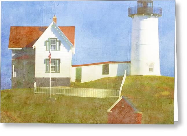 New England Ocean Greeting Cards - Sunny Day at Nubble Lighthouse Greeting Card by Carol Leigh