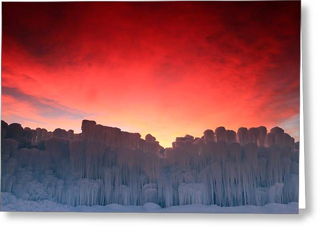 Colorful Cloud Formations Greeting Cards - Sunrise at the Midway Ice Castle. Greeting Card by Johnny Adolphson