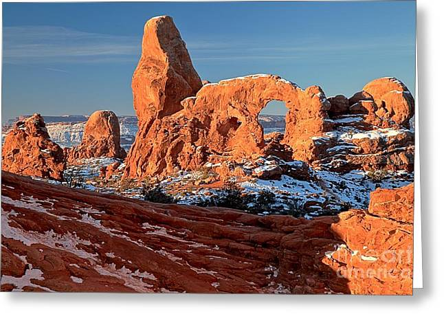 Southern Utah Greeting Cards - Sunrise At Turret Arch Greeting Card by Adam Jewell