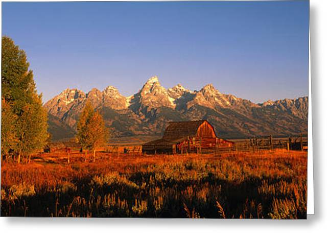 Shed Photographs Greeting Cards - Sunrise Grand Teton National Park Wy Usa Greeting Card by Panoramic Images
