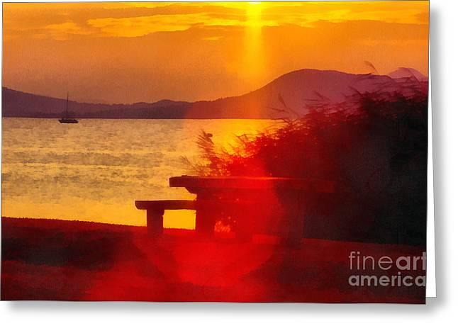 Sunrise In The Balaton Lake Greeting Card by Odon Czintos