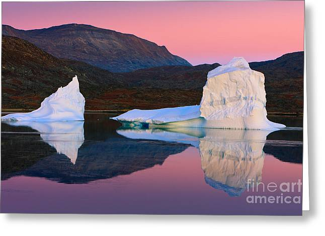 Acryl Greeting Cards - Sunrise in the Rode Fjord Greeting Card by Henk Meijer Photography