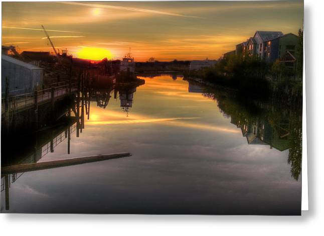 Tug Greeting Cards - Sunrise on the Petaluma River Greeting Card by Bill Gallagher