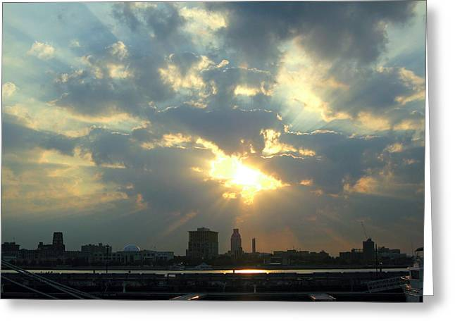 Rays Pyrography Greeting Cards - Sunrise Over Philadelphia Greeting Card by Shoal Hollingsworth