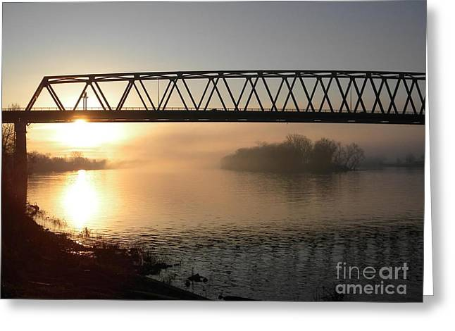 Religious Pictures Digital Art Greeting Cards - Sunrise Over The Ohio Greeting Card by Matthew Seufer