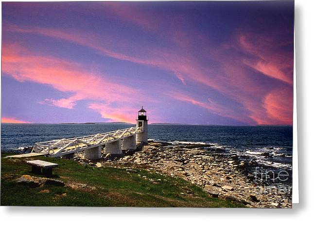 Maine Beach Greeting Cards - Sunrise Greeting Card by Skip Willits