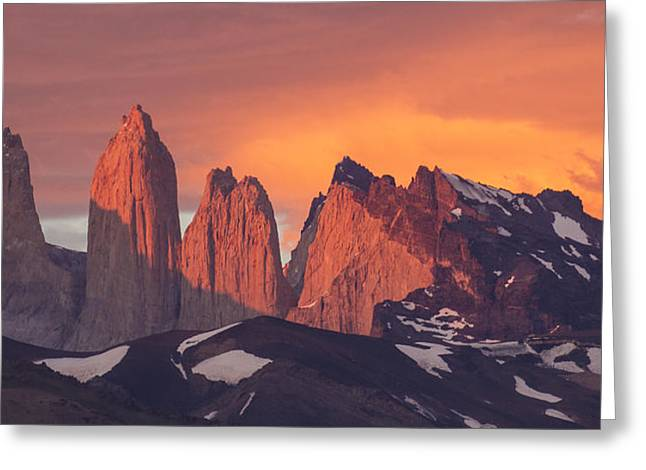 Mountain Photographs Greeting Cards - Sunrise Torres Del Paine Np Chile Greeting Card by Matthias  Breiter