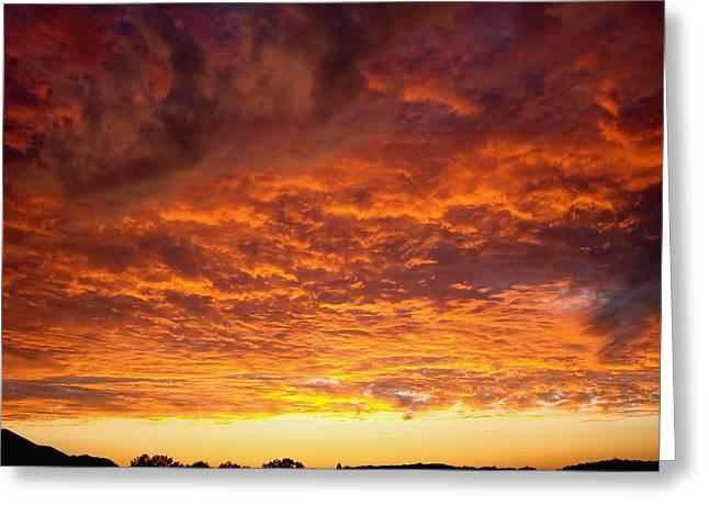 Sunset Ablaze Greeting Card by James Hammen