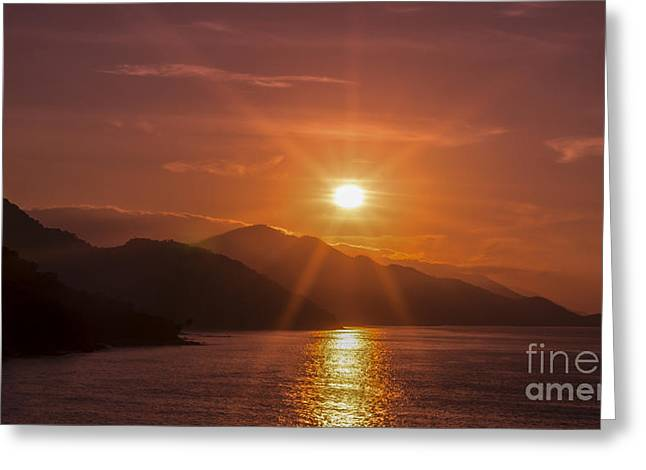 Season. Sky. Clouds Greeting Cards - Sunset Greeting Card by Aged Pixel