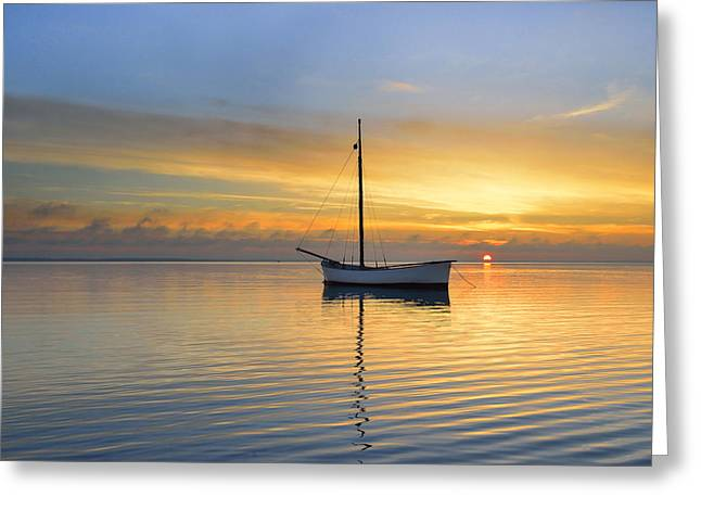 Overcast Day Greeting Cards - Sunset And Sea Greeting Card by Jan Sieminski