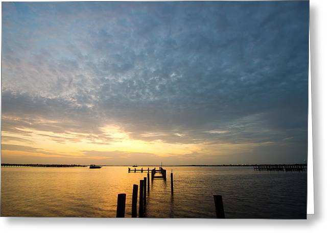 Charlotte Photographs Greeting Cards - Sunset At A Weathered Pier At Port Charlotte Harbor Near Punta  Greeting Card by Fizzy Image