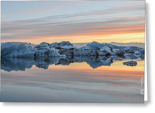 Icelandic Greeting Cards - Sunset at Jokulsarlon Iceland Greeting Card by Ning Mosberger-Tang