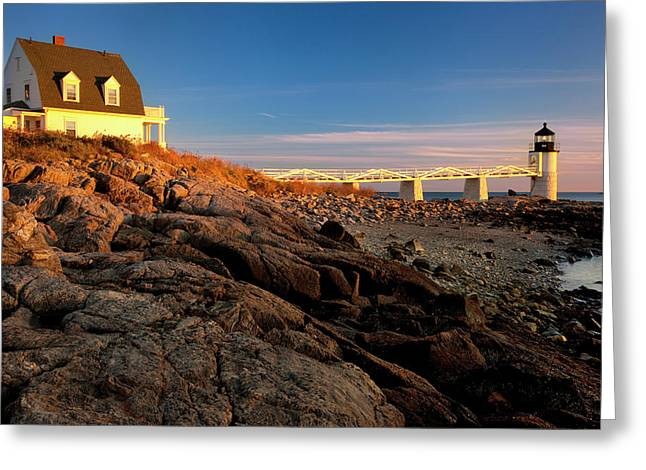 Sunset At Marshall Point Lighthouse Greeting Card by Brian Jannsen