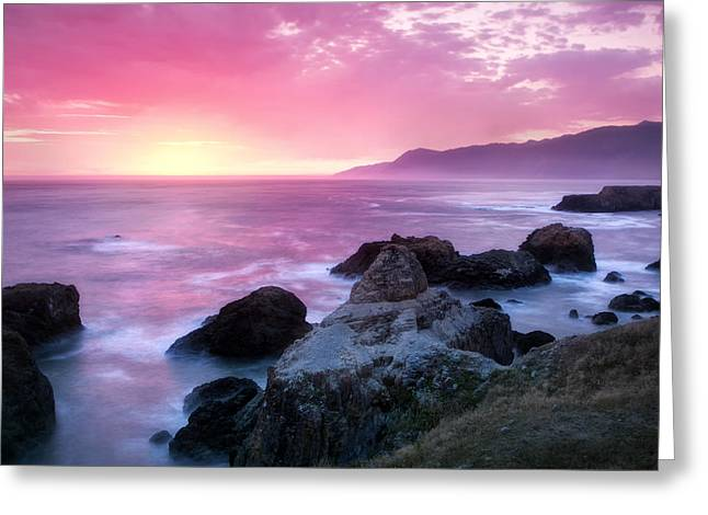 Sunset Bay State Park Greeting Cards - Sunset at Shelter Cove Greeting Card by Chris Frost