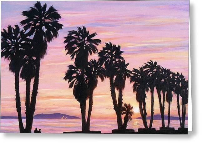 Beach Sunsets Drawings Greeting Cards - Sunset at Surfers Point Greeting Card by Tina Obrien