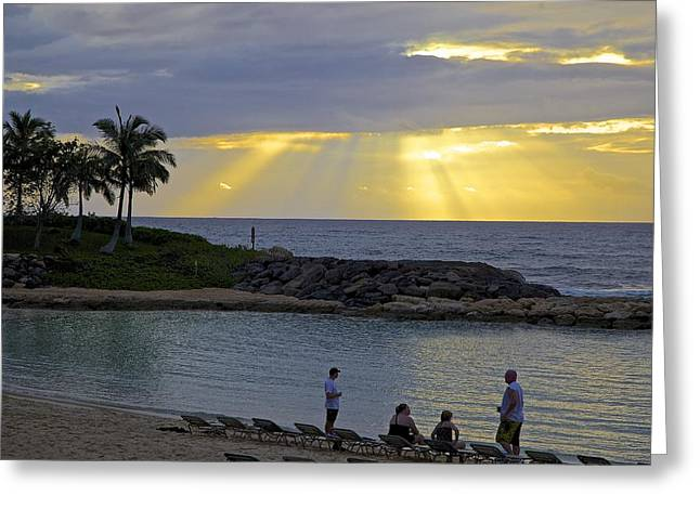 Ko Olina Lagoon Greeting Cards - Sunset At The Lagoon Greeting Card by Eddie Freeman