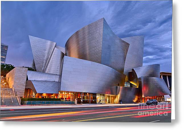 Hall Photographs Greeting Cards - Sunset at the Walt Disney Concert Hall in Downtown Los Angeles. Greeting Card by Jamie Pham