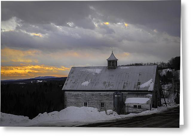 Maine Farms Greeting Cards - Sunset Barn Greeting Card by Lisa Bryant