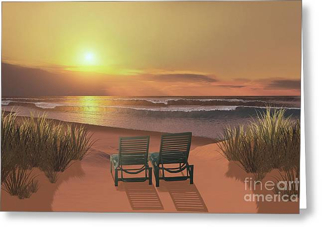 Seaside Digital Greeting Cards - Sunset Beach Greeting Card by Corey Ford