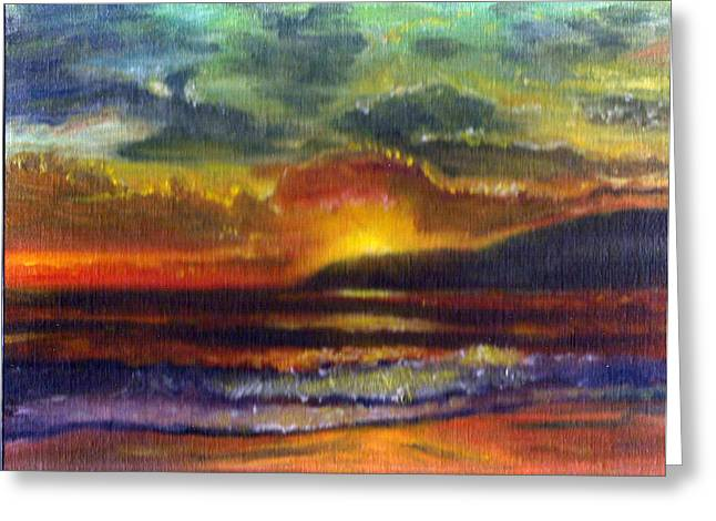Sunset Beach Greeting Card by Linda Pope